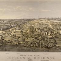 Bird's Eye View, Centennial Buildings, 1876